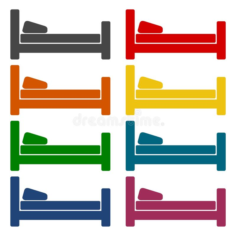 Hotel bed icon special red square button - csp50073170