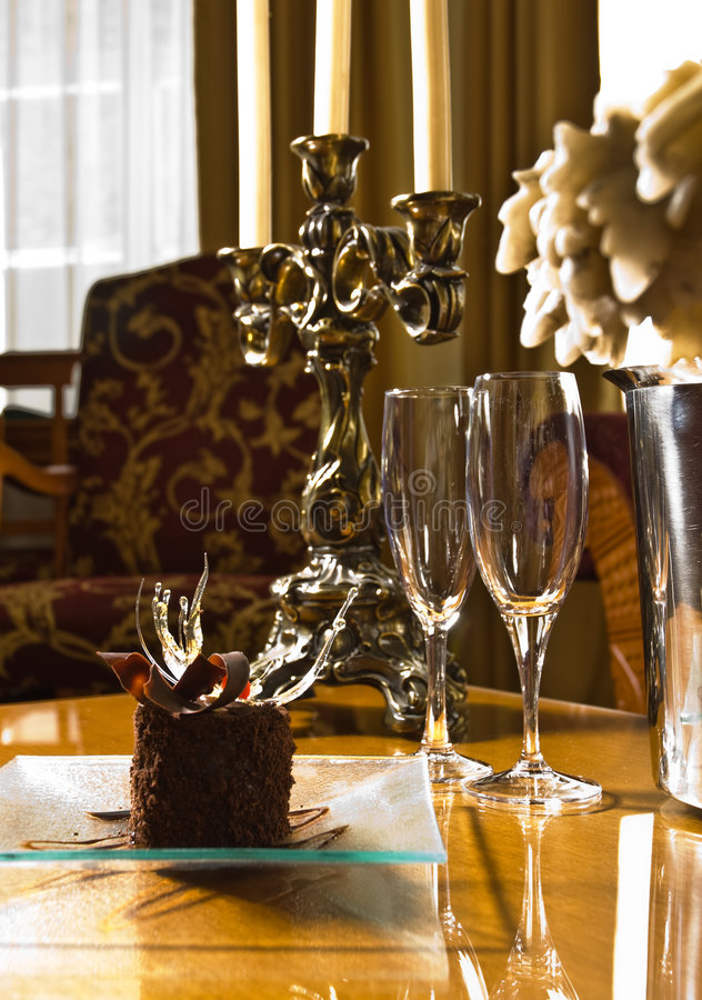 Hotel table setting stock image
