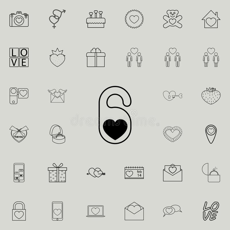 hotel tag with heart shape icon. Detailed set of Valentine icons. Premium quality graphic design sign. One of the collection icons stock illustration