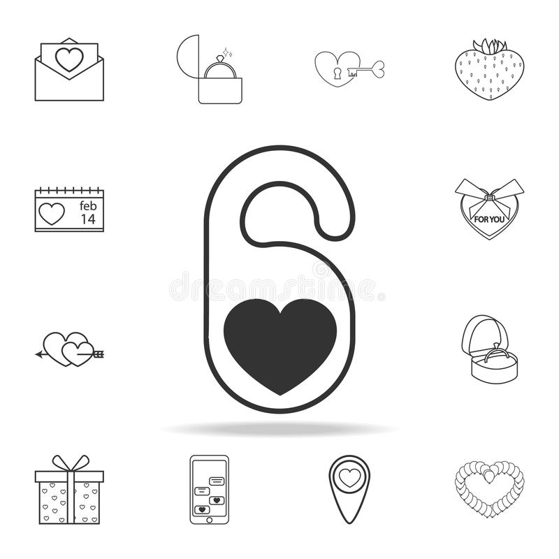 hotel tag with heart shape icon. Set of Love element icons. Premium quality graphic design. Signs, outline symbols collection icon royalty free illustration