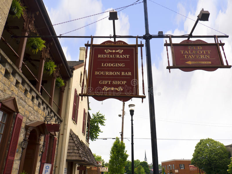 Hotel and Tavern in Bardstown Kentucky USA. Bardstown Kentucky the town In 2012 was voted as the Most Beautiful Small Town in America royalty free stock image