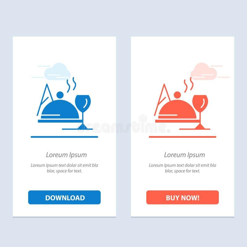 Hotel, Teller, Nahrung, Glasblau und rotes Download und Netz Widget-Karten-Schablone jetzt kaufen vektor abbildung