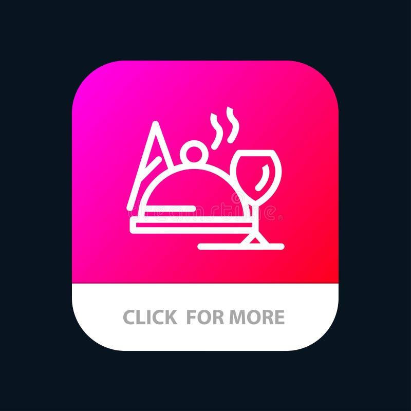 Hotel, Teller, Nahrung, mobiler App-Glasknopf Android und IOS-Linie Version vektor abbildung