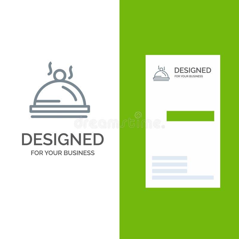 Hotel, Teller, Nahrung, Service Grey Logo Design und Visitenkarte-Schablone lizenzfreie abbildung
