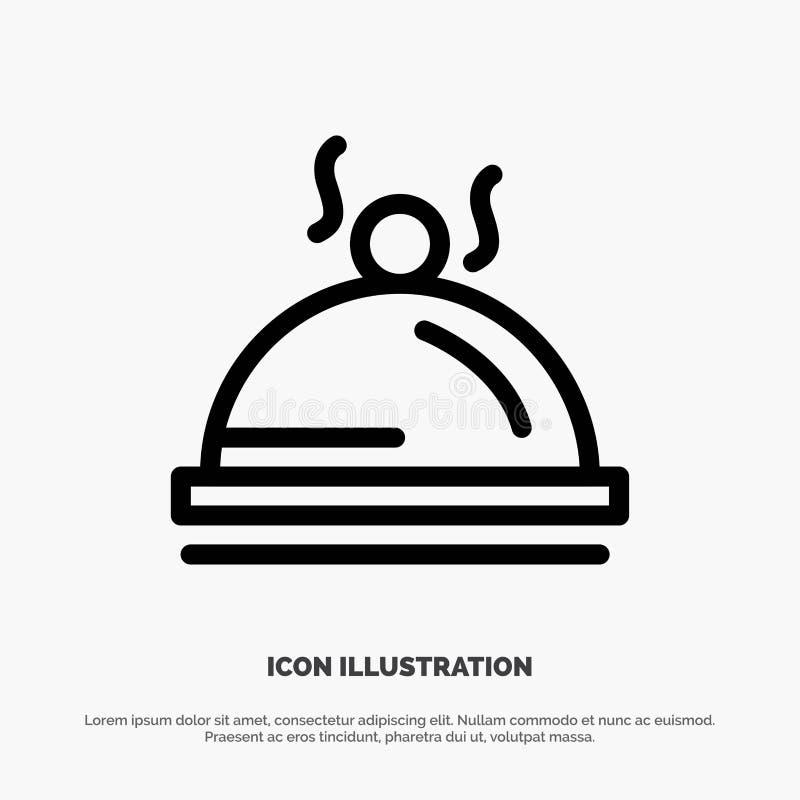 Hotel, Teller, Nahrung, Service-Vektor-Linie Ikone lizenzfreie abbildung