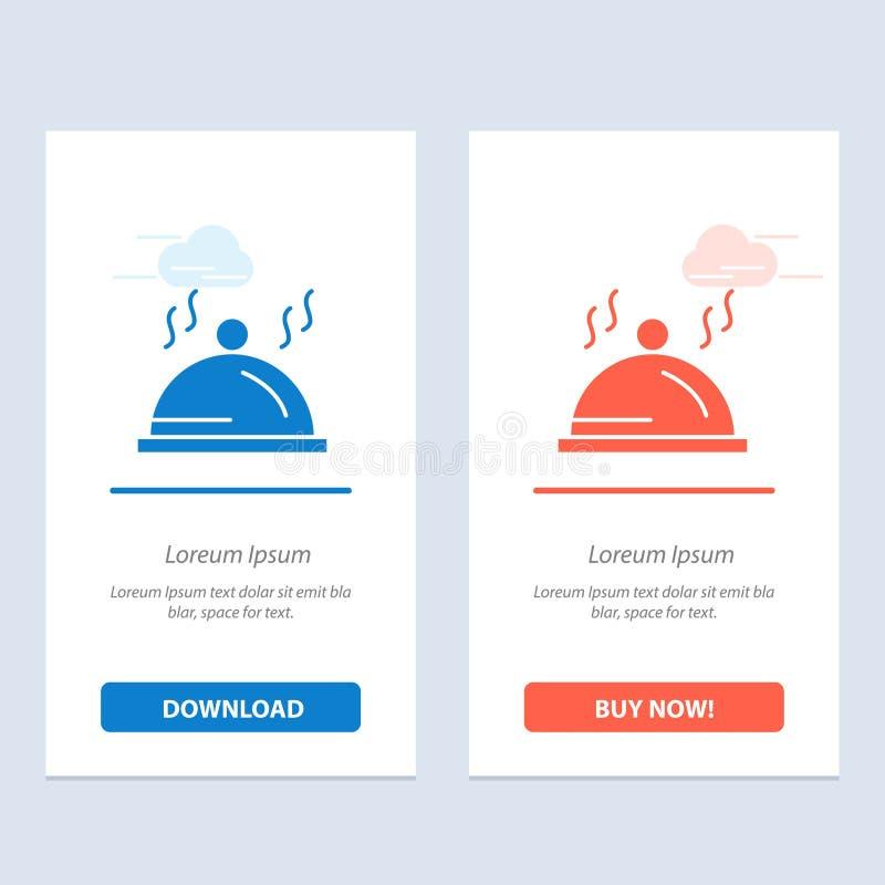 Hotel, Teller, Palette, Service-Blau und rotes Download und Netz Widget-Karten-Schablone jetzt kaufen lizenzfreie abbildung