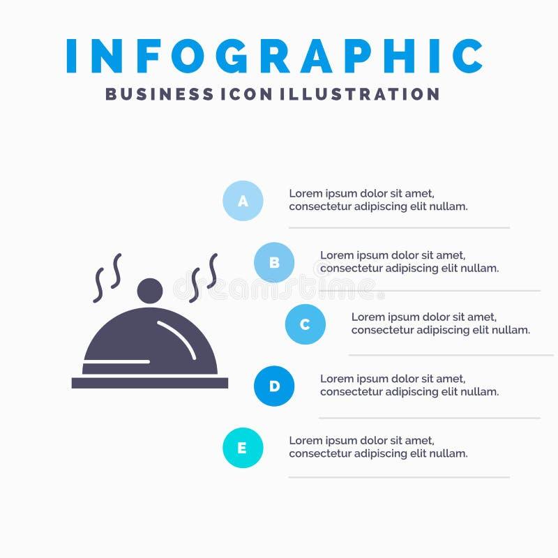 Hotel, Teller, Palette, Service Infographics-Darstellungs-Schablone 5 Schritt-Darstellung lizenzfreie abbildung