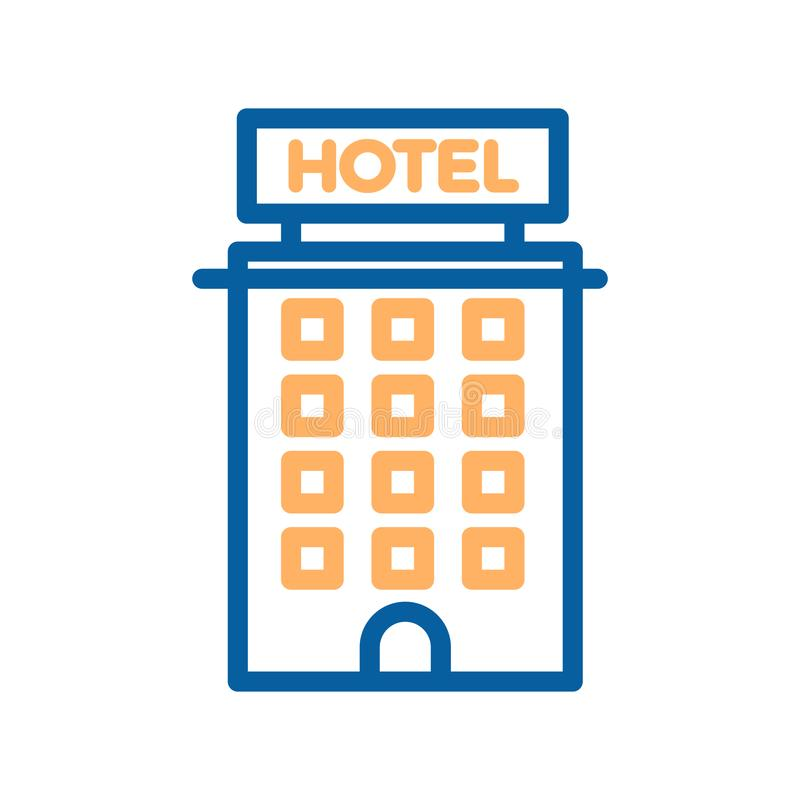Hotel thin line icon. Building, real estate, motel, tourism apartments. vector illustration