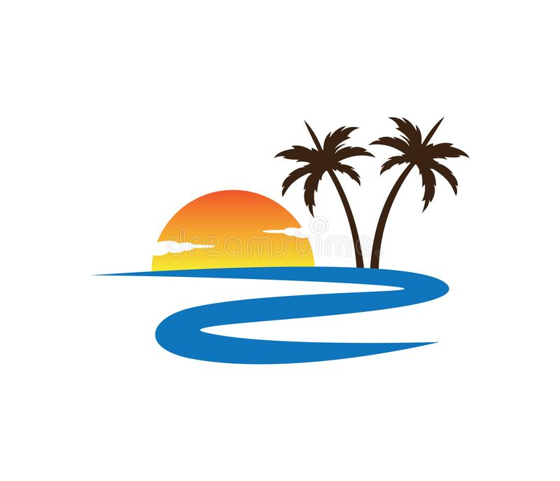 Hotel tourism holiday summer beach coconut palm tree vector logo design royalty free illustration
