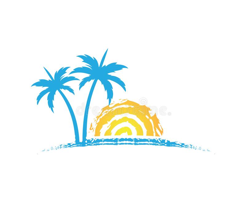 Hotel tourism holiday summer beach coconut palm tree vector logo design. For resort home stay hospitality business vector illustration
