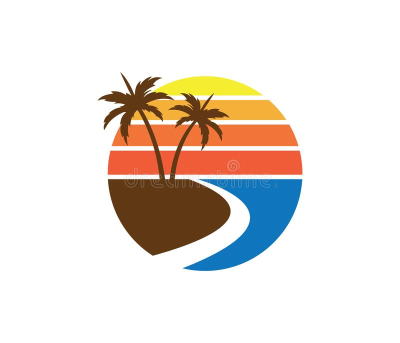 Hotel tourism holiday summer beach coconut palm tree vector logo design. For resort home stay hospitality business royalty free illustration