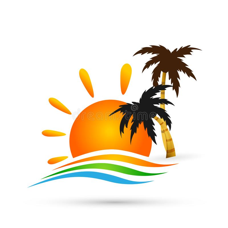 Hotel tourism sun holiday summer beach coconut palm tree sea wave vector logo design concept symbol icon on white background. Hotel tourism sun holiday summer royalty free illustration