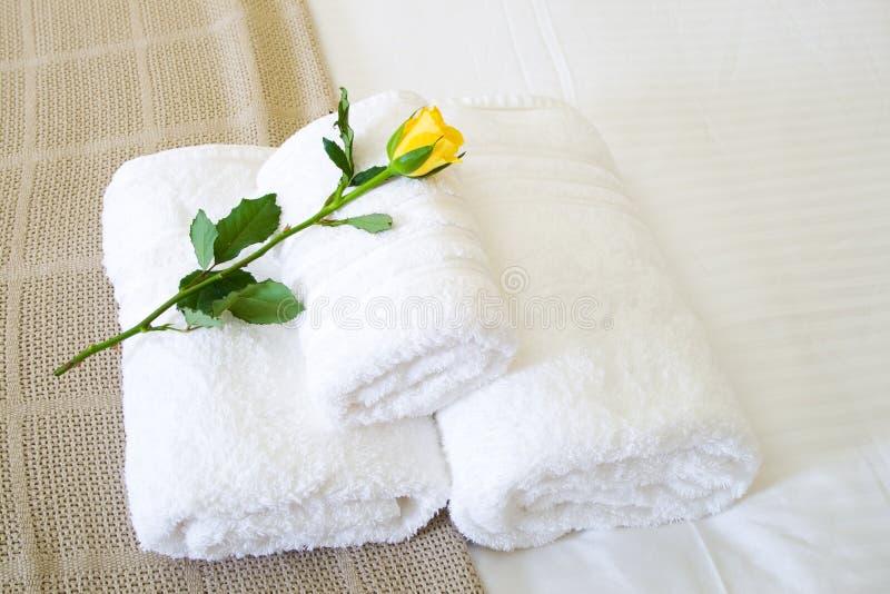 Hotel towel stock photo