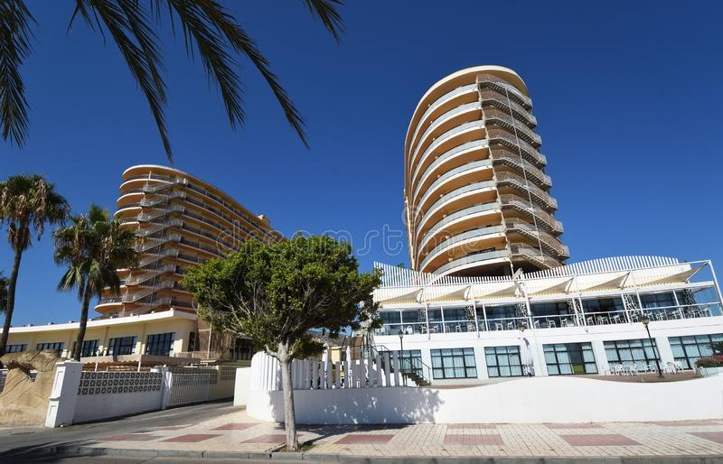 Hotel tower blocks on Torremolinos seafront. royalty free stock images
