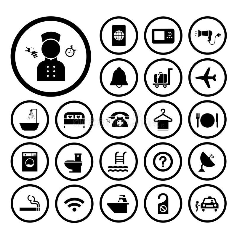 Hotel and travel icon set vector illustration