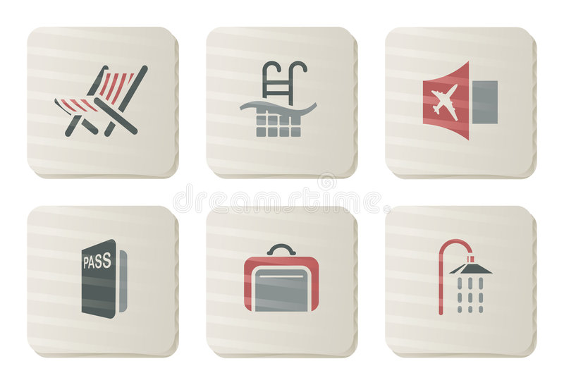 Download Hotel And Travel Icons | Cardboard Series Stock Vector - Illustration of ticket, icons: 7857485