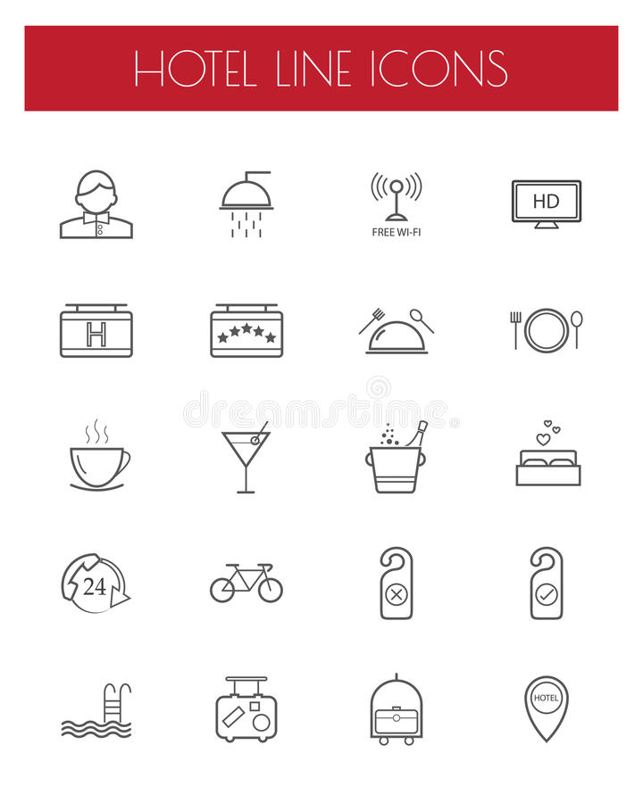 Hotel and travel line icon set. vector illustration