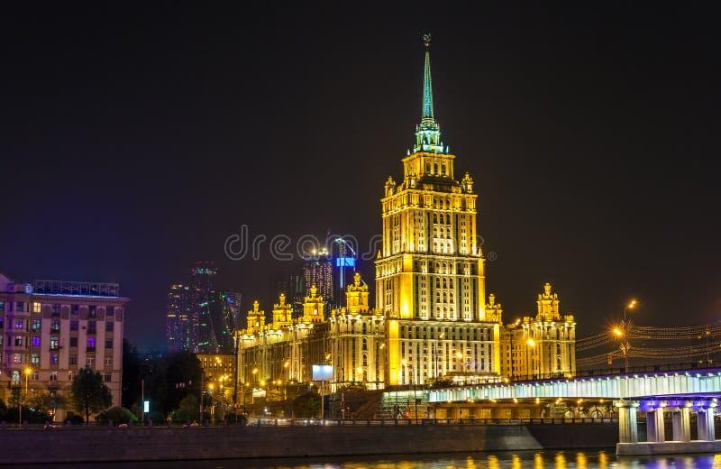 Hotel Ucrânia, uma construção de highrise neoclássico da Stalin-era em Moscou imagem de stock royalty free