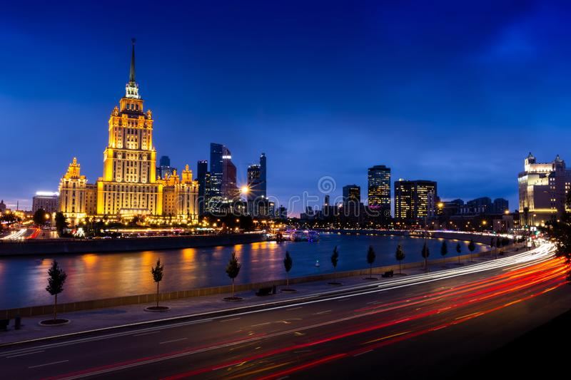 Hotel Ukraine and International Business Center. A high-rise in a city. Skyscrapers of Moscow royalty free stock photo