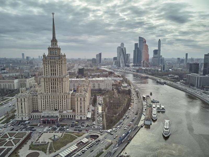 Hotel Ukraine and Moscow City business complex in Moscow, Russia. Aerial panoramic view royalty free stock photos