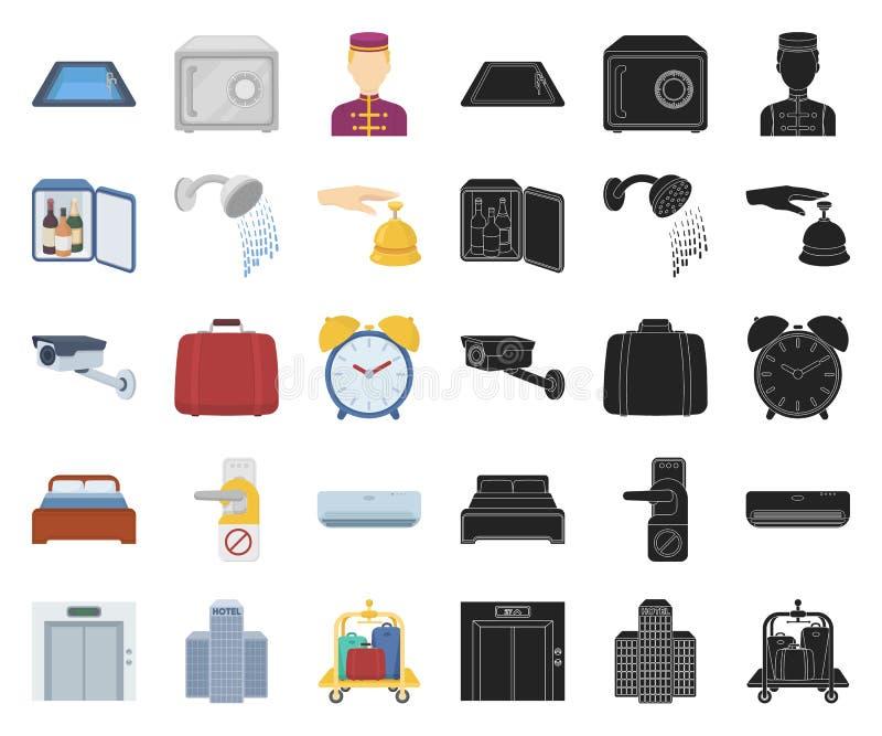 Hotel- und Ausrüstungskarikatur, schwarze Ikonen in gesetzter Sammlung für Entwurf Hotel und Komfortvektorsymbolvorratnetz vektor abbildung