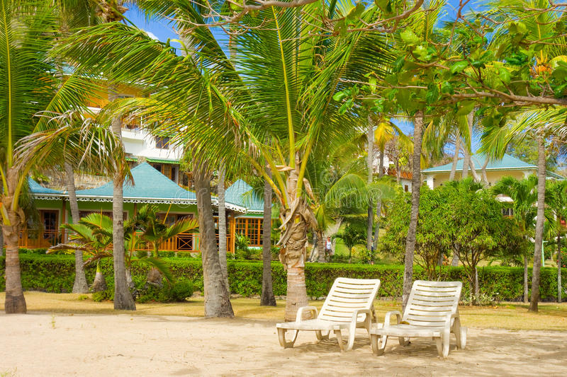 Hotel units at friendship beach, bequia. Charming waterfront accommodations in the windward islands stock images