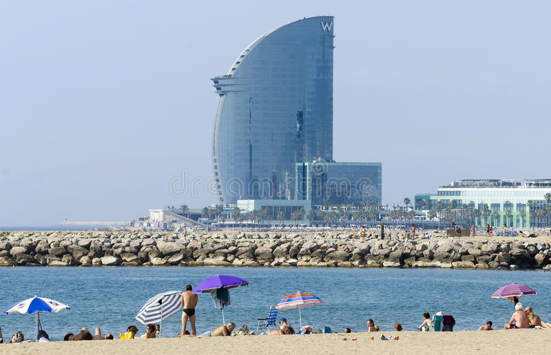 Hotel Vela. BARCELONA, SPAIN - JULY 12, 2015: W Barcelona Hotel, known as the Hotel Vela (Sail Hotel), designed by Architect Ricardo Bofill. Located on the new royalty free stock photo