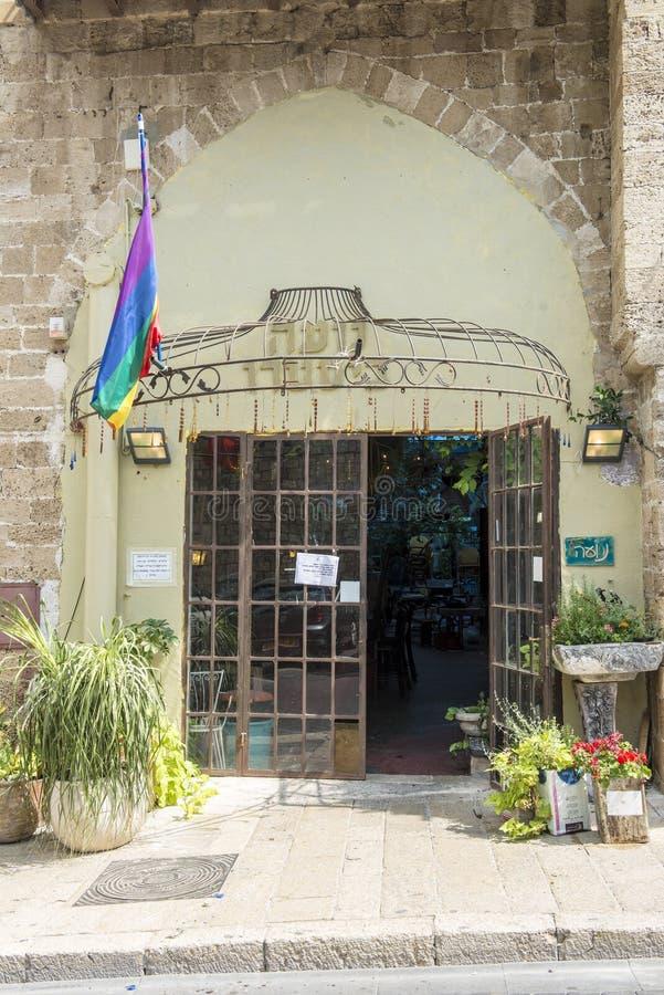 Hotel voor homosexuelen en lesbiennesstraten en huizen in Tel Aviv stock fotografie