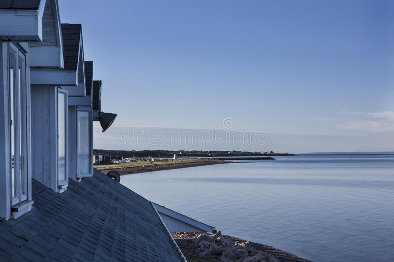 Hotel vue of a Beautiful sun rise in a bay , Quebec Canada royalty free stock images