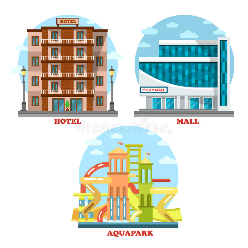Hotel y aguamarina o parque del agua, alameda, supermercado ilustración del vector