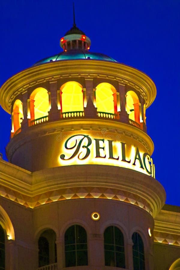 Hotel y casino de Bellagio con la cubierta superior del exterior de la corona foto de archivo