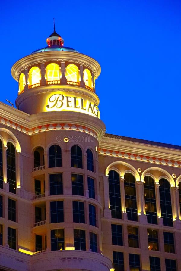 Hotel y casino de Bellagio con la cubierta superior del exterior de la corona fotos de archivo libres de regalías