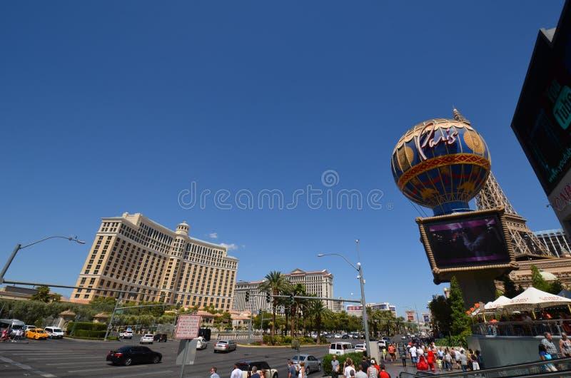 Hotel y casino, señal, camino, ciudad de Bellagio, céntrica fotografía de archivo libre de regalías