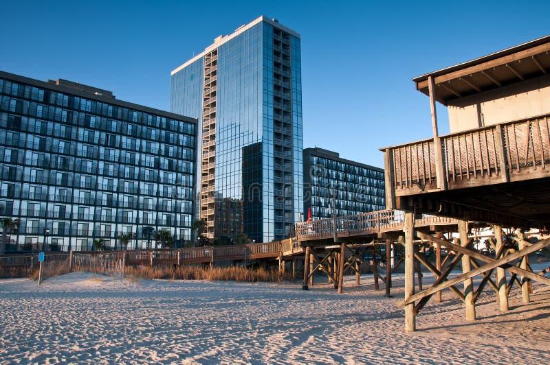 Hotel y embarcadero de Myrtle Beach imagenes de archivo