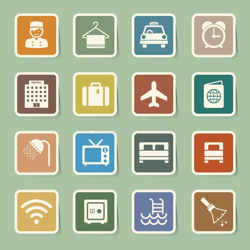 Hotel y sistema del icono del viaje libre illustration