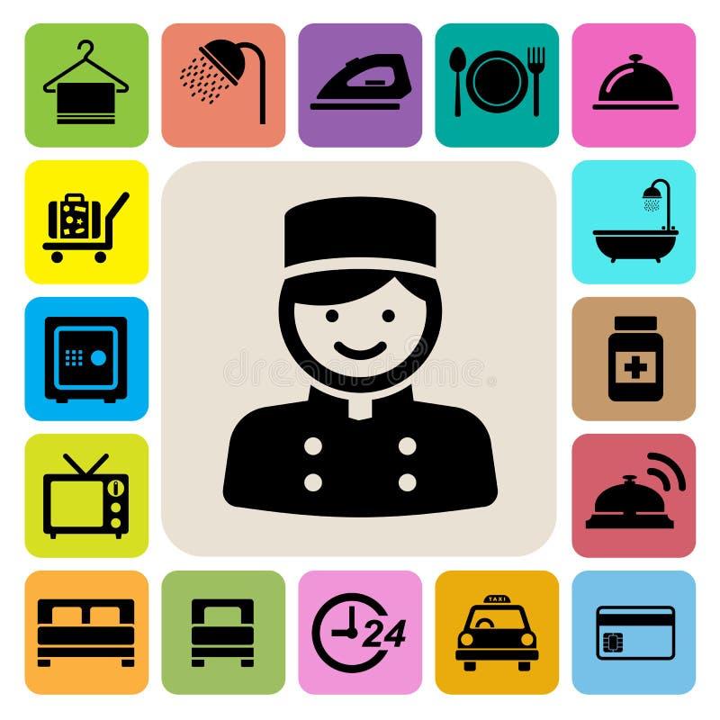 Hotel y sistema del icono del viaje stock de ilustración