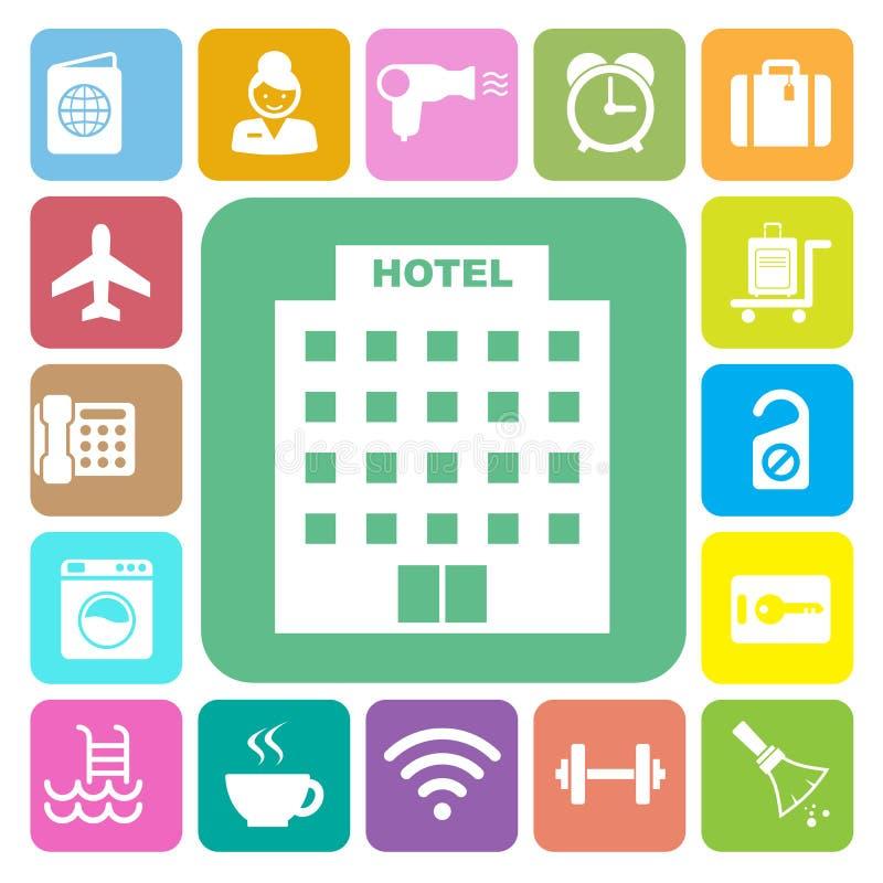 Hotel y sistema del icono del viaje ilustración del vector