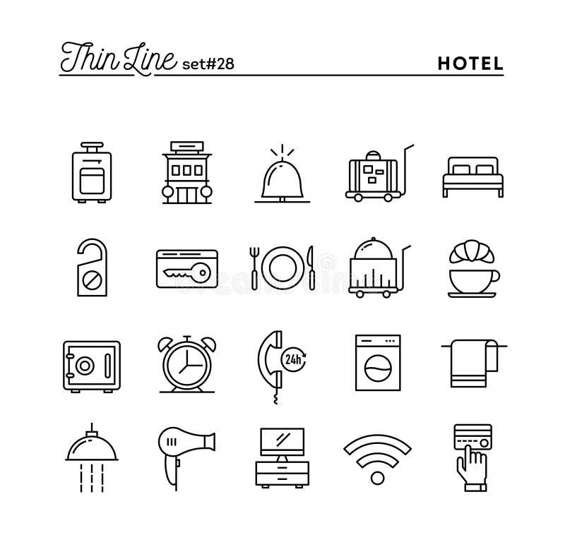 Hotel, zakwaterowanie, izbowa usługa, restauracja i więcej, cienki l ilustracji
