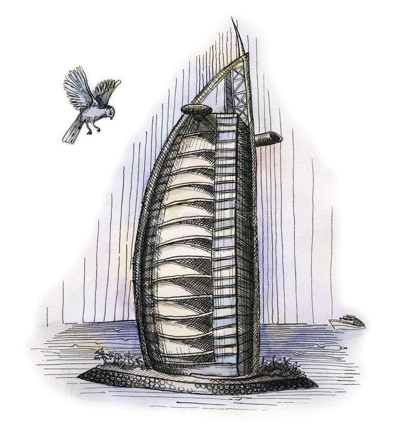 Hotel zeven van Doubai speelt de tekening van de waterverfhand, het beroemde architecturale geïsoleerd mee buillding royalty-vrije illustratie