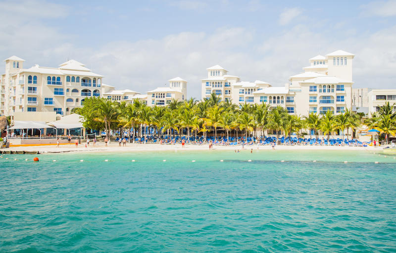 Hotel Zone in Cancun/ Zone Hoteliere Cancun / Beach at hotel. Mexico royalty free stock image