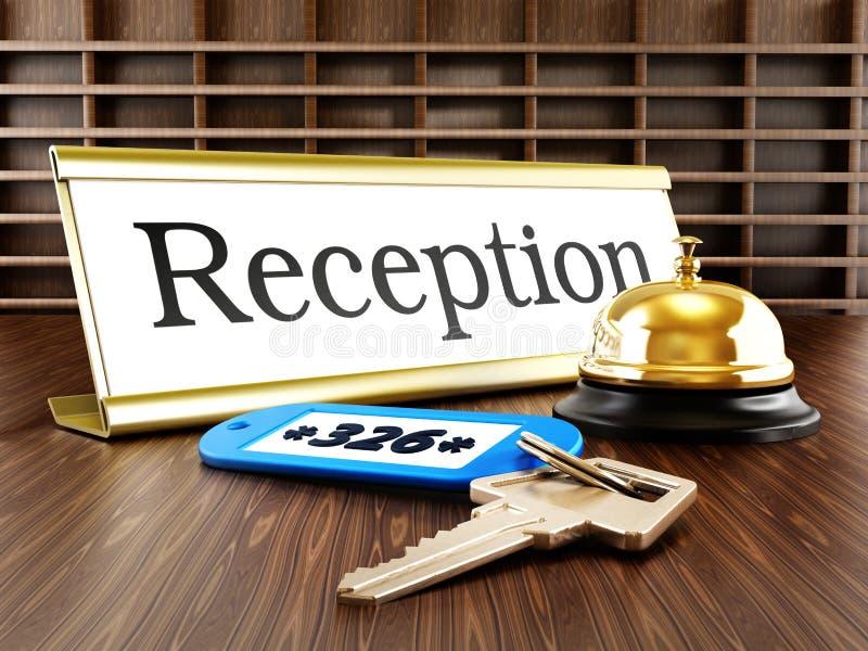 Hotelaufnahme, Service-Glocke und Zimmerschlüssel lizenzfreie abbildung