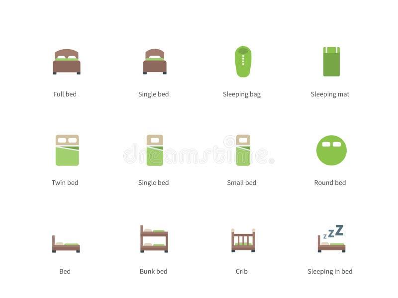 Hotelbedden en van Slaaptekens kleurenpictogrammen op wit royalty-vrije illustratie