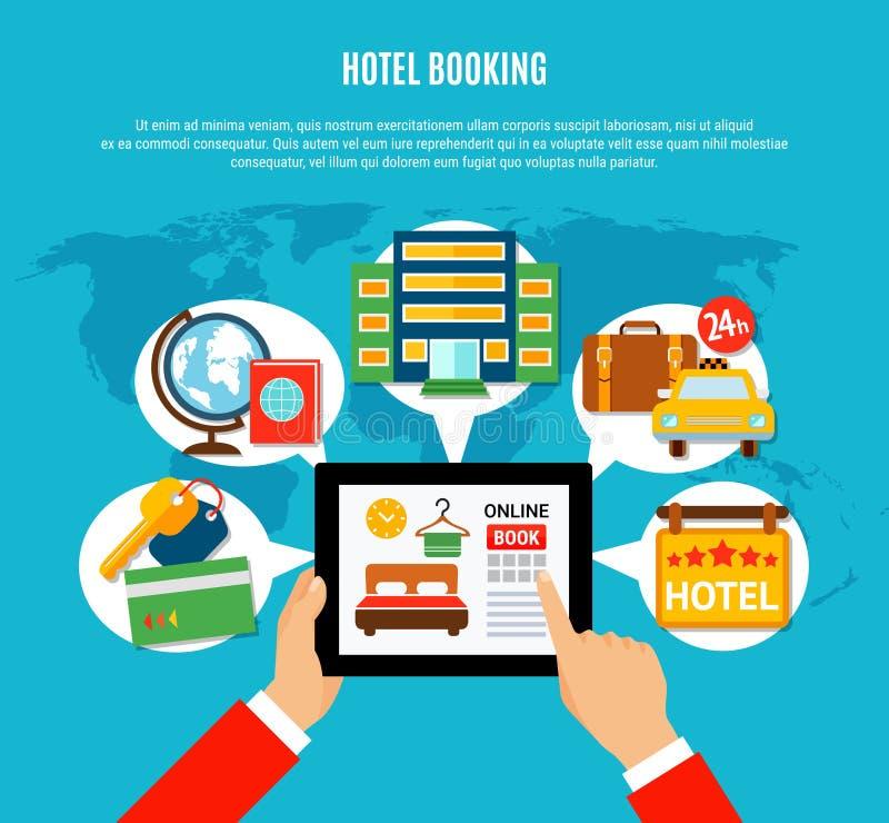 Hotelbuchungs-Konzept des Entwurfes stock abbildung