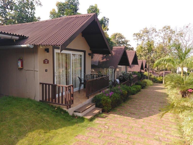 Hotelbungalow, Goa, Indien lizenzfreies stockbild