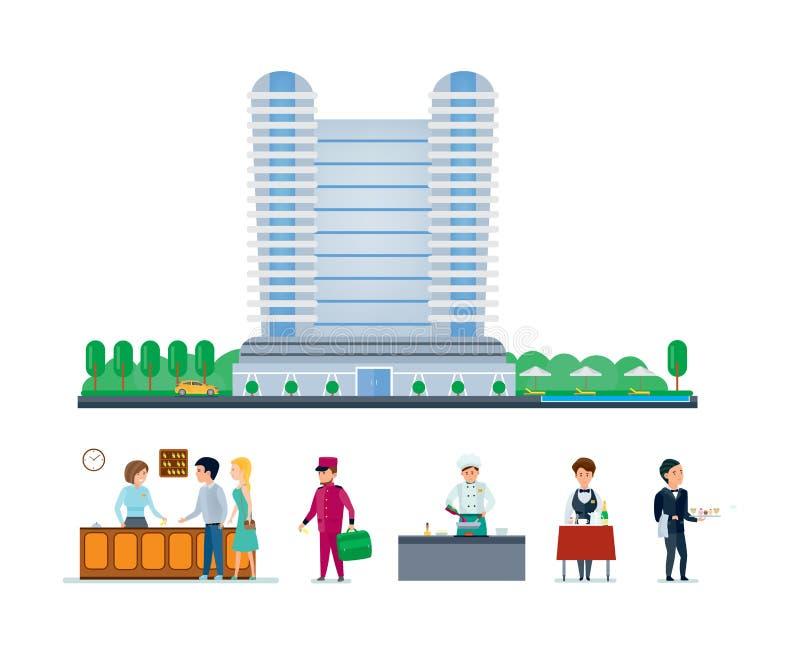 Hoteldienstleistungen, Stadtbild und die Umwelt, Personal, Sitzung, Service lizenzfreie abbildung