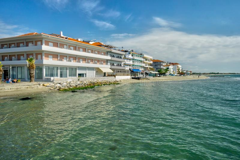 Hotele przy plażą Paralia Katerini obraz royalty free