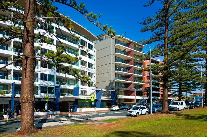 Hotelgebäude am Hafen Macquarie in Australien lizenzfreies stockbild