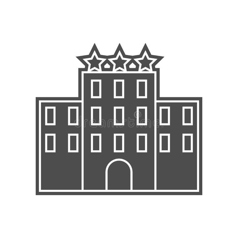 Hotelikone mit drei Sternen Element von minimalistic f?r bewegliches Konzept und Netz Appsikone Glyph, flache Ikone f?r Websiteen stock abbildung