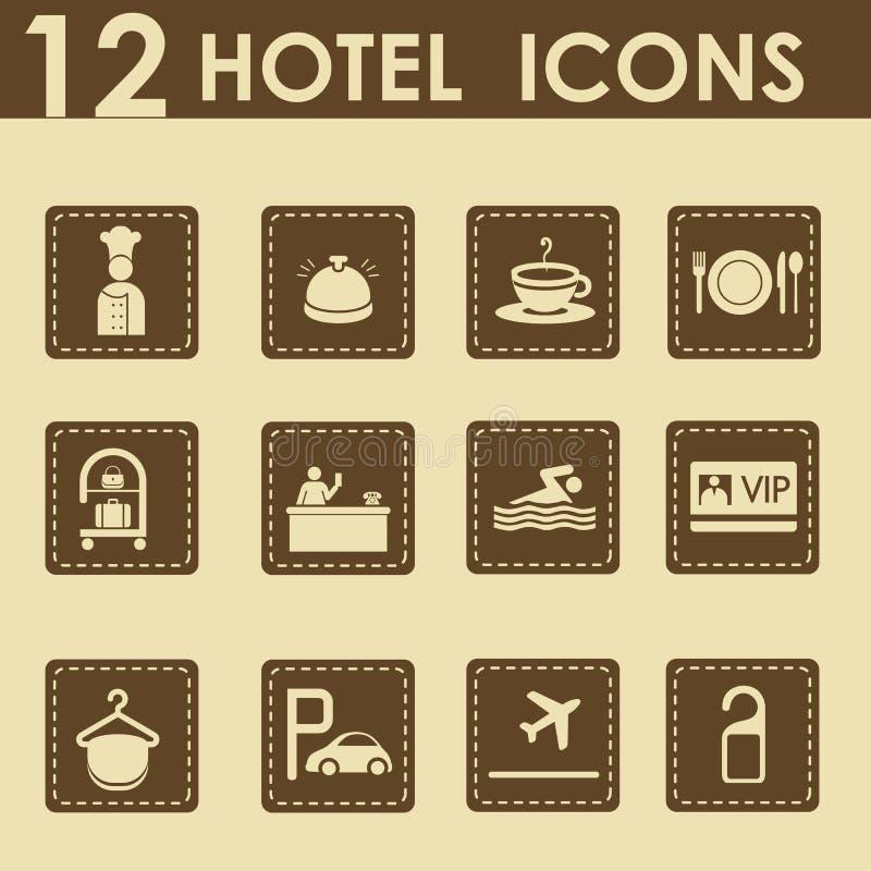 Hotelikonen eingestellt vektor abbildung