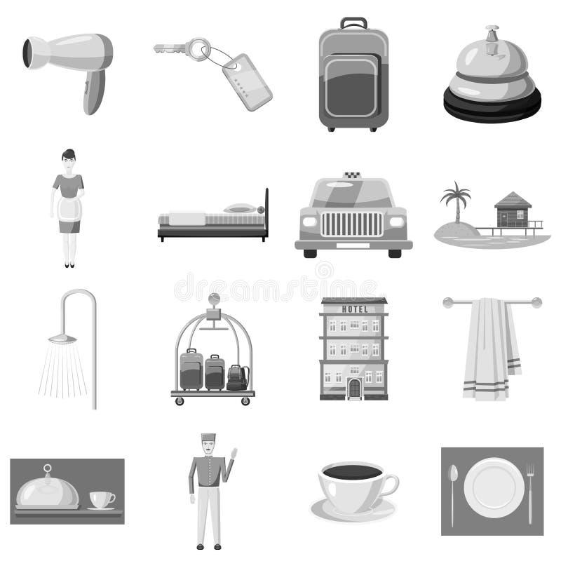 Hotelikonen eingestellt, graue einfarbige Art lizenzfreie abbildung